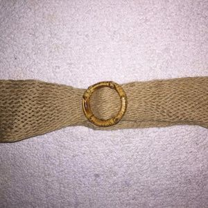 Tan Woven Cloth Belt with Bamboo Like Buckle